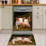 Pig Cute Couple Pattern Dishwasher Cover Sticker Kitchen Decor