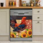 Rooster Chicken Sunflower Dishwasher Cover Sticker Kitchen Decor