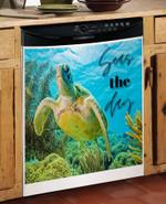 Seas The Day Green Turtle Dishwasher Cover Sticker Kitchen Decor