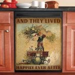 Sewing Machine Child Couple And They Lived Happily Ever After Dishwasher Cover Sticker Kitchen Decor