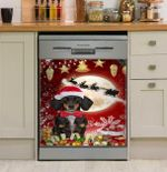 Red Moon Christmas Dachshund Dishwasher Cover Sticker Kitchen Decor