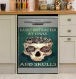 Owl Lovers Easily Distracted By Owls And Skulls Dishwasher Cover Sticker Kitchen Decor