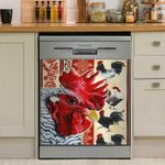 Rooster Look Dishwasher Cover Sticker Kitchen Decor