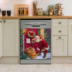 Santa Clause See Letter Christmas Pattern Dishwasher Cover Sticker Kitchen Decor