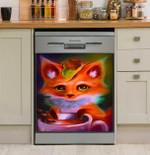Little Fox Love Coffee Dishwasher Cover Sticker Kitchen Decor