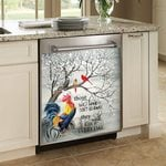 Rooster And Cardinals Those We Love Don't Go Away Dishwasher Cover Sticker Kitchen Decor
