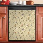 Mushroom Pattern Dishwasher Cover Sticker Kitchen Decor