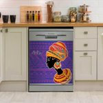 Portrait Of African Woman In Ethnic Turban Dishwasher Cover Sticker Kitchen Decor