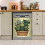 Lovely Cactus Cartoon Dishwasher Cover Sticker Kitchen Decor