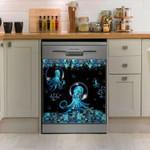 Octopus Blue Flower Dishwasher Cover Sticker Kitchen Decor