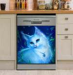 Lovely White Cat Dishwasher Cover Sticker Kitchen Decor
