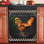 Rooster On Black Pattern Dishwasher Cover Sticker Kitchen Decor