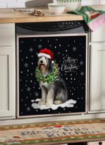 Old English Sheepdog Wreath Necklace Christmas Dishwasher Cover Sticker Kitchen Decor