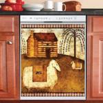 Sheep Wooden House Vintage Dishwasher Cover Sticker Kitchen Decor