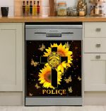 Police Sunflower And God Dishwasher Cover Sticker Kitchen Decor