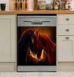 Loving Horse Couple Sunset Meadow Dishwasher Cover Sticker Kitchen Decor