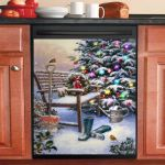 Peaceful Christmas Day Park Bench Christmas Tree Dishwasher Cover Sticker Kitchen Decor