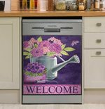Purple Flower Welcome Dishwasher Cover Sticker Kitchen Decor
