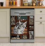 Maine Coon Cat Dishwasher Cover Sticker Kitchen Decor