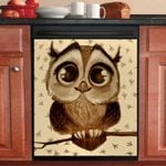 Owl Oil Painting Dishwasher Cover Sticker Kitchen Decor