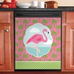 Pink Flamingo Palm Dishwasher Cover Sticker Kitchen Decor