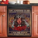 Native Girl Whispered Back I Am The Storm Dishwasher Cover Sticker Kitchen Decor