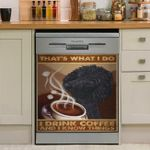 Poodle Loves Coffee Dishwasher Cover Sticker Kitchen Decor