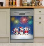 Penguins Firework Dishwasher Cover Sticker Kitchen Decor