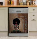 Namaste Black Girl Yoga Dishwasher Cover Sticker Kitchen Decor