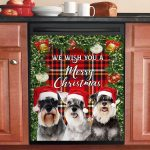 Miniature Schnauzer We Wish You A Merry Christmas Dishwasher Cover Sticker Kitchen Decor