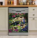 Pug Roses Dishwasher Cover Sticker Kitchen Decor