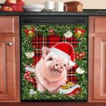 Pink Pig Cute Christmas Dishwasher Cover Sticker Kitchen Decoration