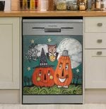 Pumpkin And Owl Party Dishwasher Cover Sticker Kitchen Decor