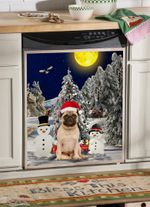 Pug Christmas Trees With Snowmans Dishwasher Cover Sticker Kitchen Decor