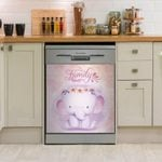 Lovely Pink Elephant Dishwasher Cover Sticker Kitchen Decor