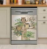 Owl Love Tree Mandala Dishwasher Cover Sticker Kitchen Decoration
