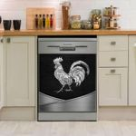 Rooster Silver Dishwasher Cover Sticker Kitchen Decor