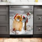 Pomeranian And Christmas Cards Dishwasher Cover Sticker Kitchen Decor