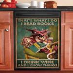 Read Books And Drink Wine Dragon Dishwasher Cover Sticker Kitchen Decor