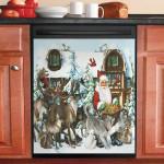 Santa Gifts For All Animals Dishwasher Cover Sticker Kitchen Decor