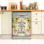 Pig Sunflower A Messy Kitchen Is A Happy Kitchen Dishwasher Cover Sticker Kitchen Decor