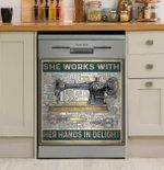 She Works With Her Hands In Delight Dishwasher Cover Sticker Kitchen Decor