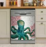 Ocean Green Octopus Red Coral Dishwasher Cover Sticker Kitchen Decor