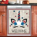 Patriotic Cute Unicorn Welcome Dishwasher Cover Sticker Kitchen Decor