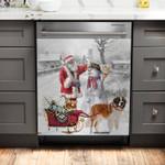 Saint Bernard Snow Pattern Dishwasher Cover Sticker Kitchen Decor