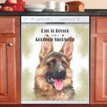Life Is Better With A German Shepherd Dishwasher Cover Sticker Kitchen Decor