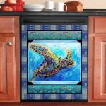 Sea Turtle Swimming Dishwasher Cover Sticker Kitchen Decor