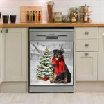 Rottweiler And Christmas Tree Dishwasher Cover Sticker Kitchen Decor