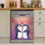Penguin Love Dishwasher Cover Sticker Kitchen Decor