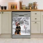 Rottweiler Winter House Pattern Dishwasher Cover Sticker Kitchen Decor